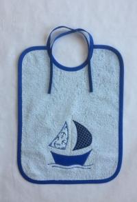Binde-Lätzchen mit Segelschiff (Applikation)